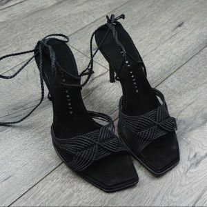 Vintage Black Woven Lace Up Strappy Heel